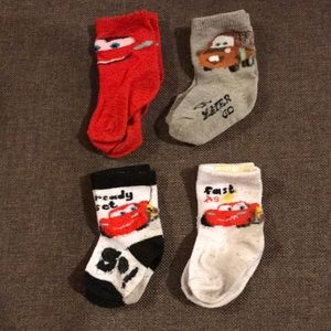 Other - CARS infant toddler socks bundle 4 pairs white red